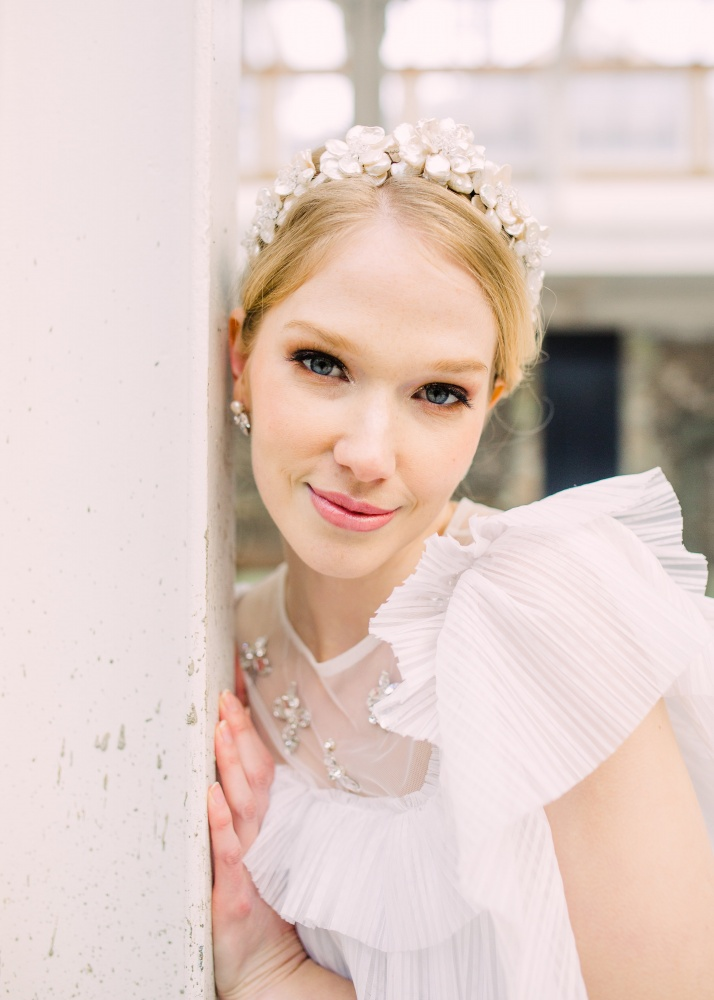 Large pearl blossom tiara flower crown