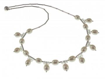 Designer Pearl and Swarovski Crystal Wedding Necklace