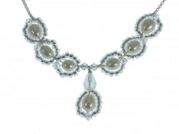Designer Pearl and Swarovski Crystal Bridal Necklace