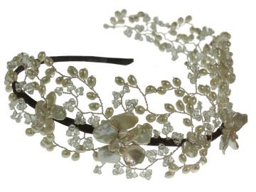 Designer Vine Pearl and Swarovski Side Tiara Headdress