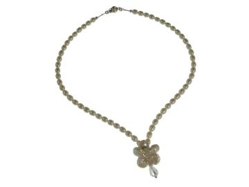 Pearl Flower and Swarovski Crystal Wedding Necklace