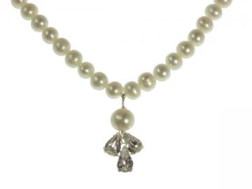 Handmade Pearl and Swarovski Crystal Wedding Necklace