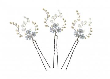 Handmade designer pearl and silver Forget Me Not Hairpins