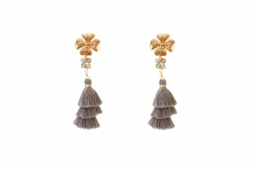 Grey silk tassel and gold plated flower drop earrings