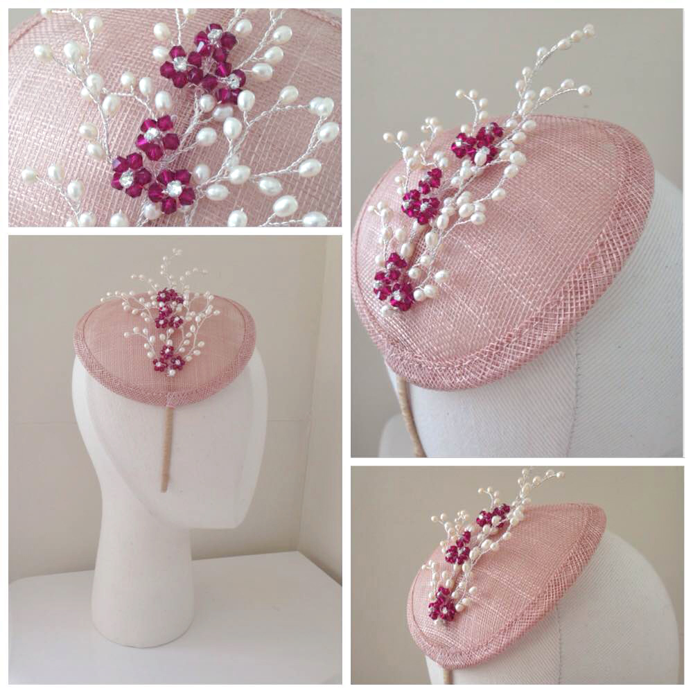 Blush Hat Wine Swarovski Hat - Cheryl Laughlin