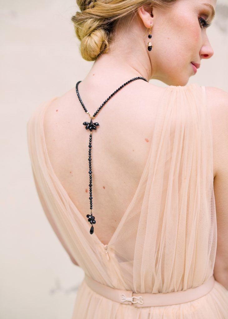 Black Deco crystal back necklace for Ladies day at the Royal Ascot