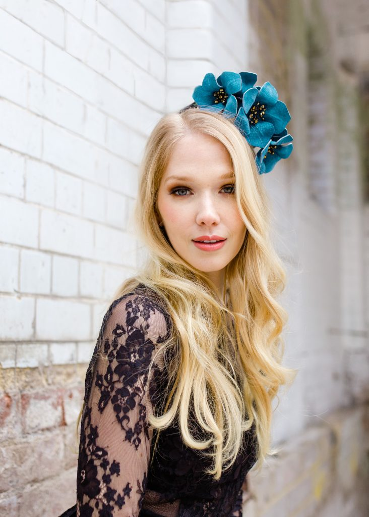 Flora Blossom fascinator headpiece with blue leather flowers