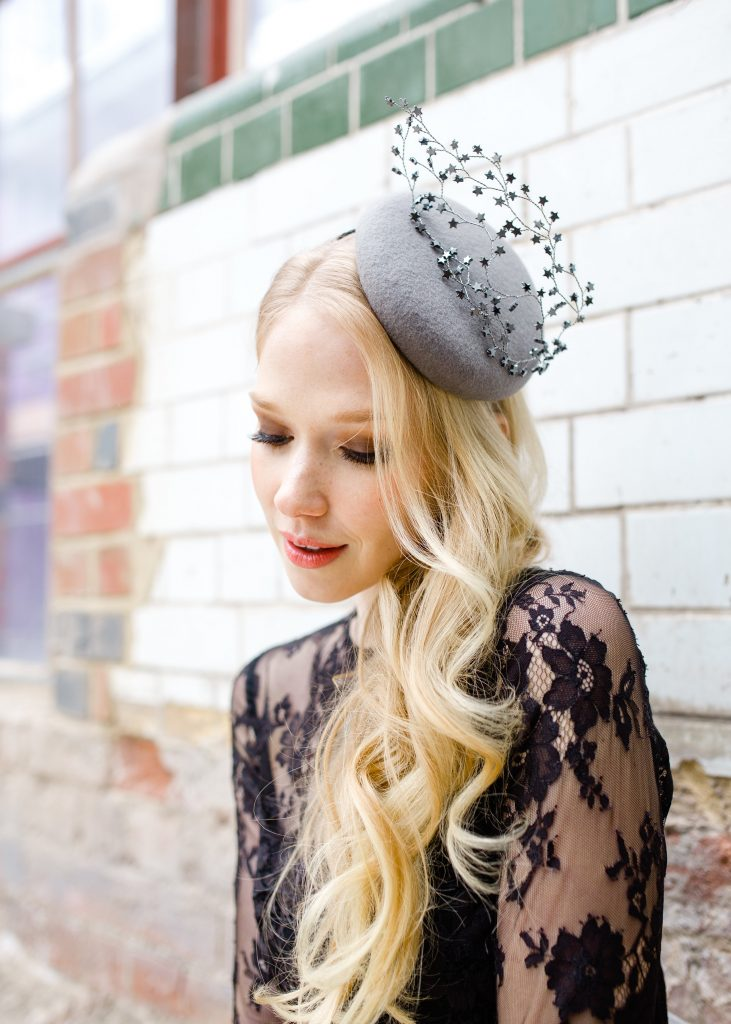 Grey pillbox hat with swarovski star decoration adhering to the Royal Ascot Dress Code