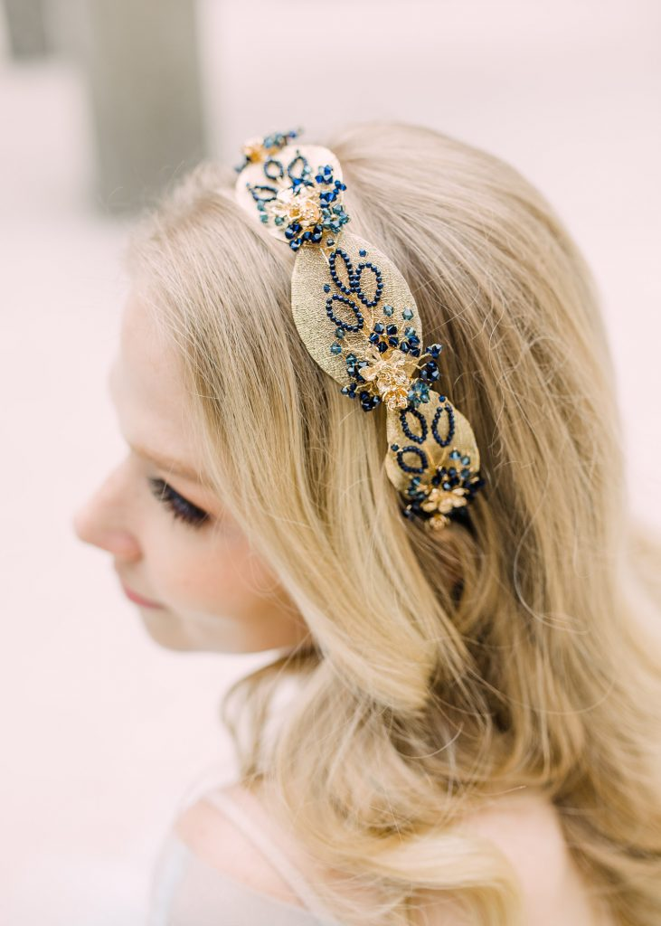 Gold leaf and blue gemstone headdress