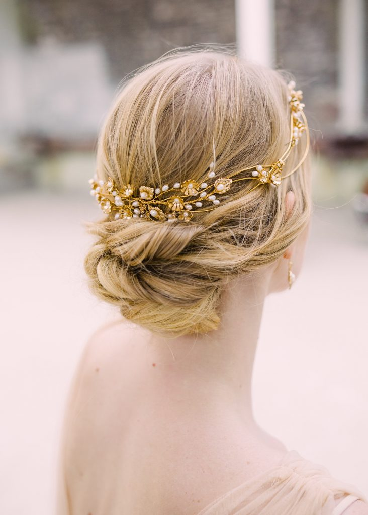 Golden leaf, blossom and pearl embellished headdress for summer nuptials and bridal hair accessories