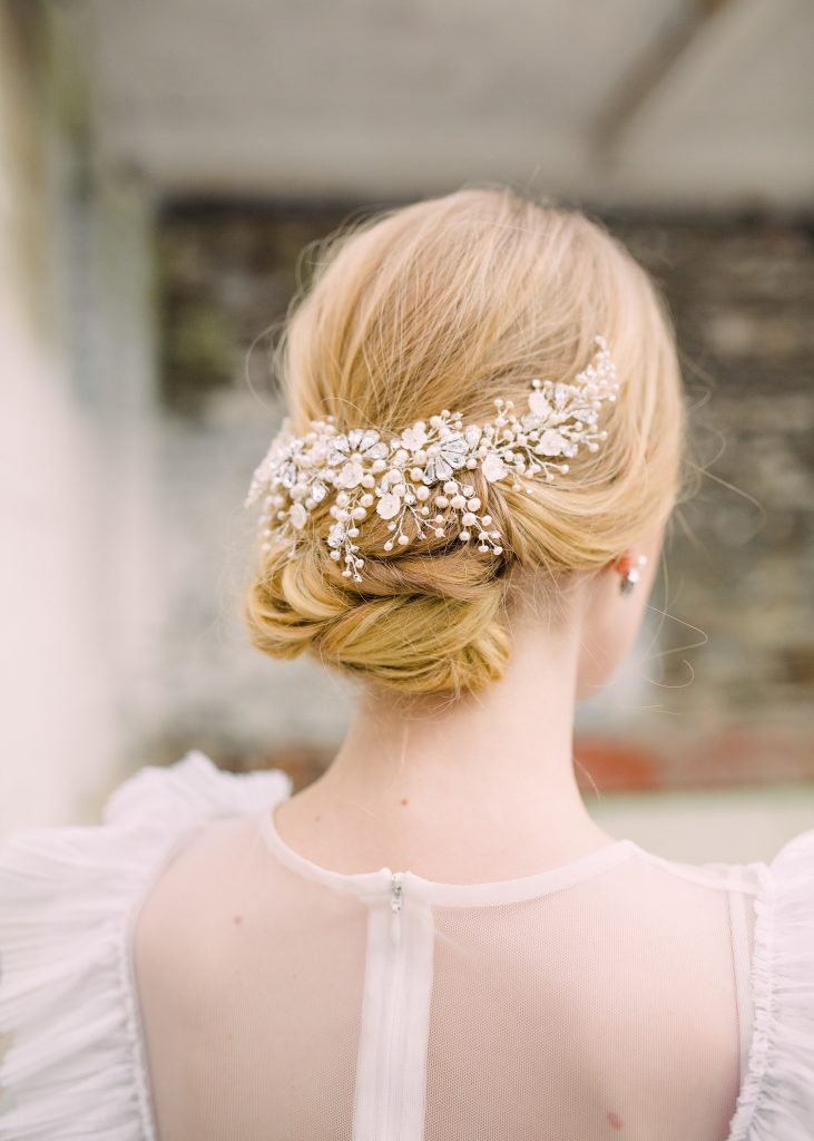 Crystal and pearl bridal headpiece for weddings and summer nuptials