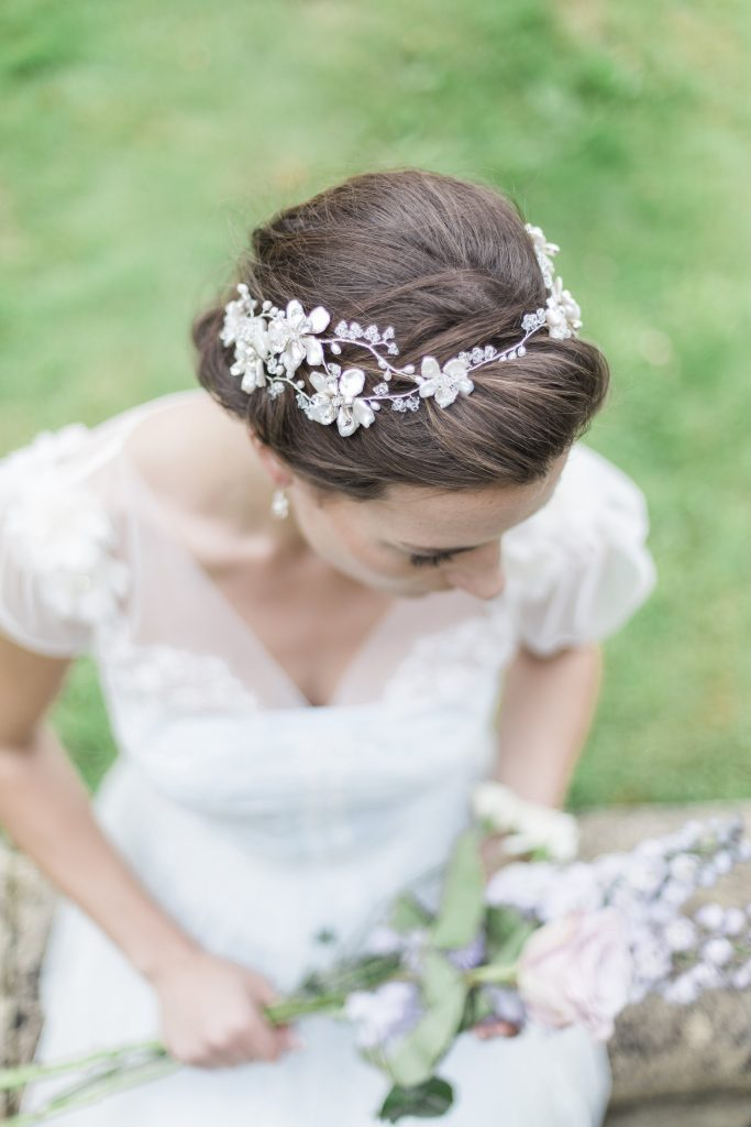 Pearl and crystal flower crown headdress for brides on their wedding day