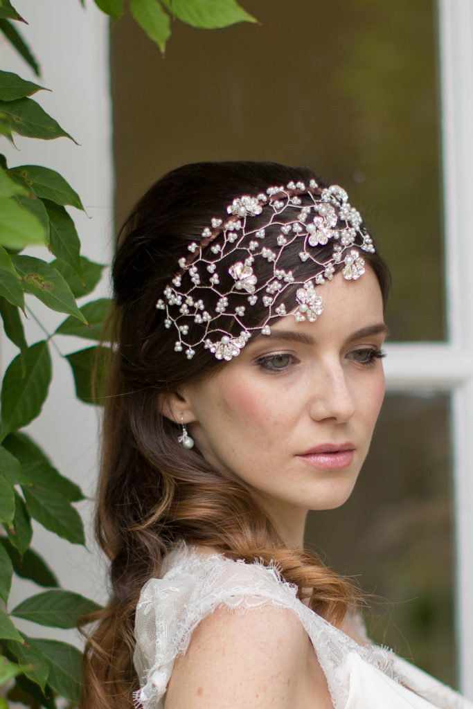Pearl and crystal vintage inspired 1920s Gatsby style headdress for bridal accessories wedding day