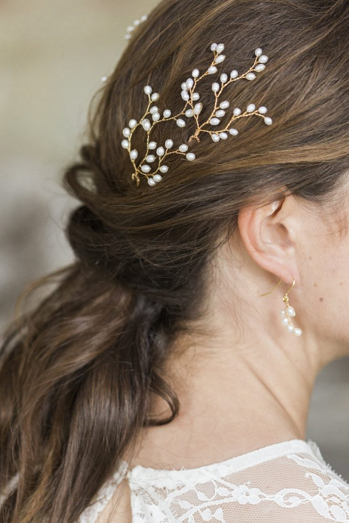 Gold hairpins embellished with pearls for wedding days and pretty hair adornments