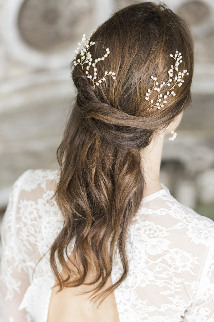 Gold and pearl embellished bridal hairpins wedding accessories