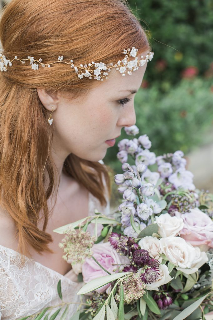 pearl and mother of pearl blossoms flower crown bridal hair accessories