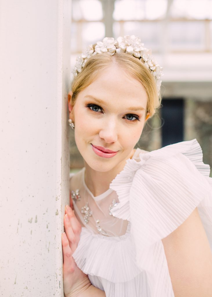 Pearl blossom flower crown tiara on an alice band bridal accessories