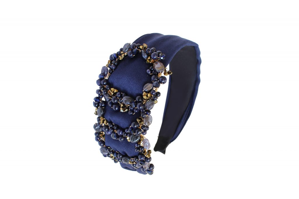 crystal and stone embellished navy satin headband CHRISTMAS GIFTS: