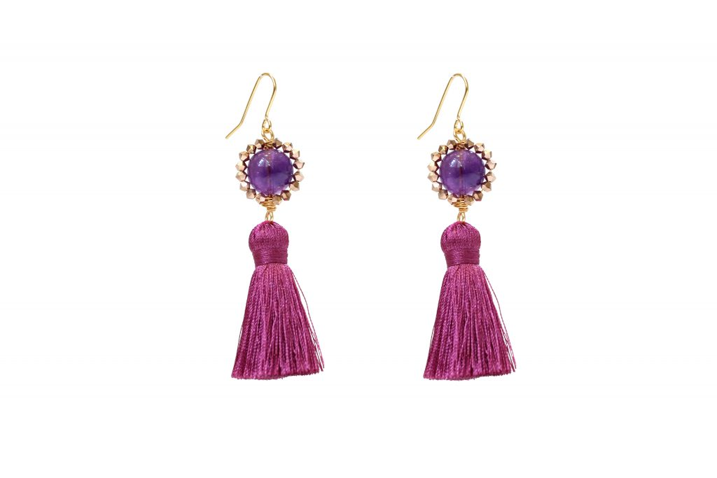 magenta pink and stone embellished drop tassel earrings CHRISTMAS GIFTS: