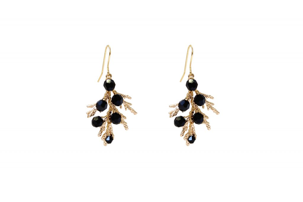 black Swarovski crystal drop gold plated earrings CHRISTMAS GIFTS: