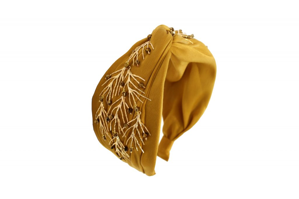 Gold and crystal embellished satin turban CHRISTMAS GIFTS: