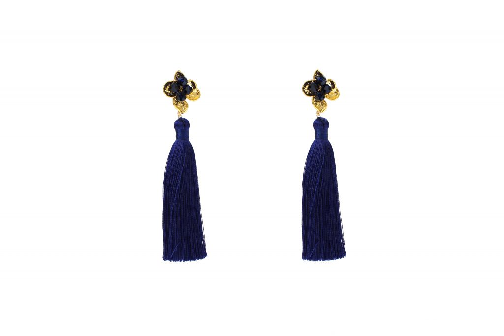 navy tassel and gold-plated crystal embellished drop earrings CHRISTMAS GIFTS: