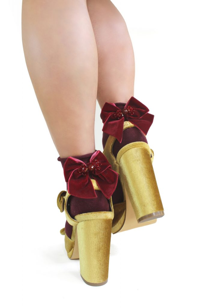 ruby red stone embellished bow winter ankle party socks CHRISTMAS GIFTS: