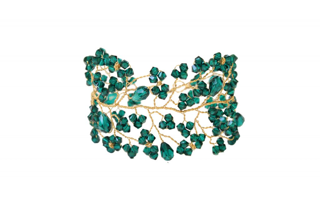 emerald green crystal and gold cuff bracelet CHRISTMAS GIFTS: