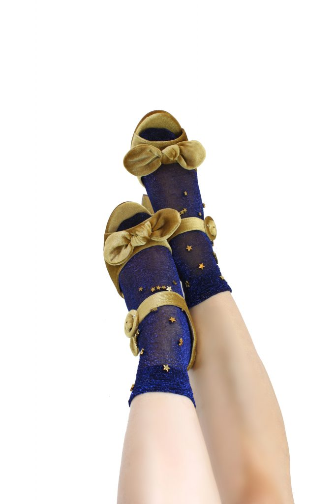 Glittered navy bule gold star embellished tulle ankle socks CHRISTMAS GIFTS: