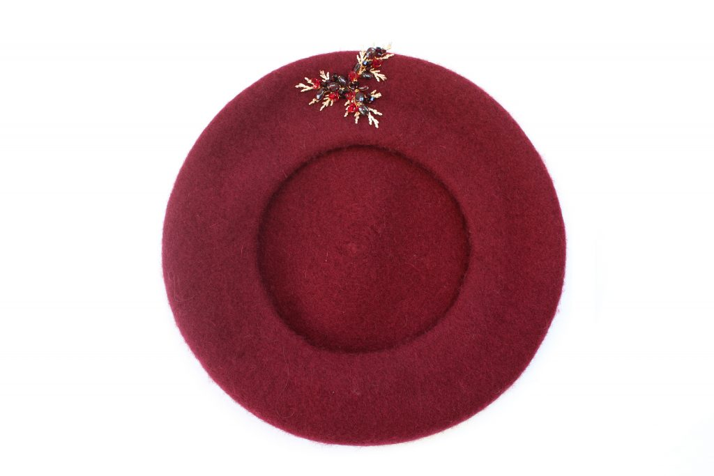 Mulberry red berry wool-blend embellished beret winter hat CHRISTMAS GIFTS: