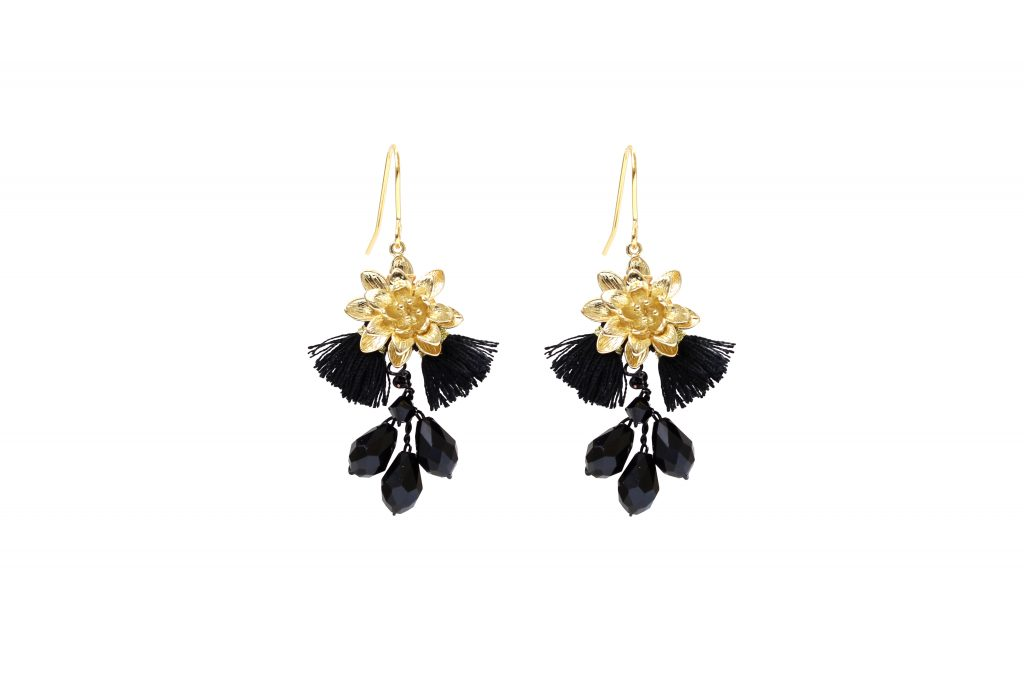 black fringed tassel and gold plated drop earrings CHRISTMAS GIFTS: