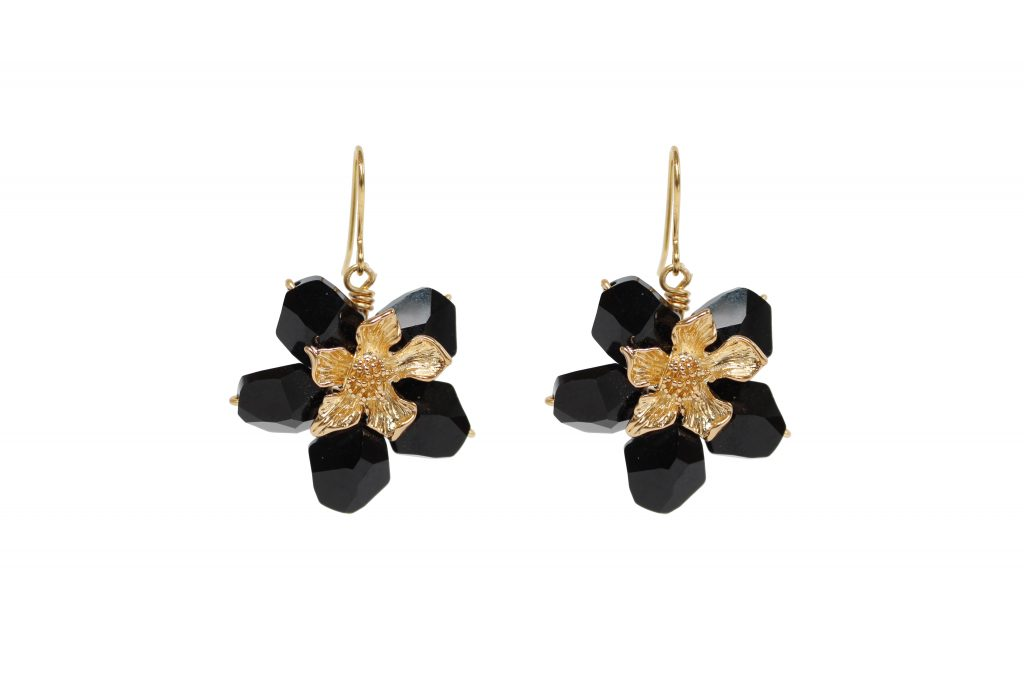 black swarovski crystal and gold plated flower drop earrings CHRISTMAS GIFTS: