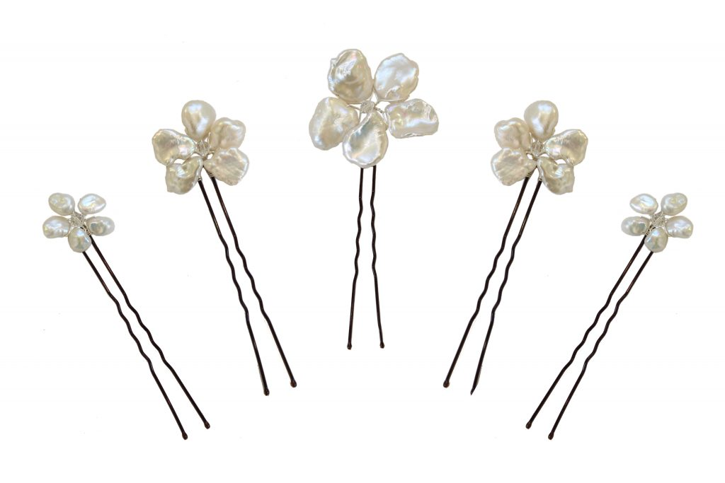 pearl and crystal embellished wedding hair pins