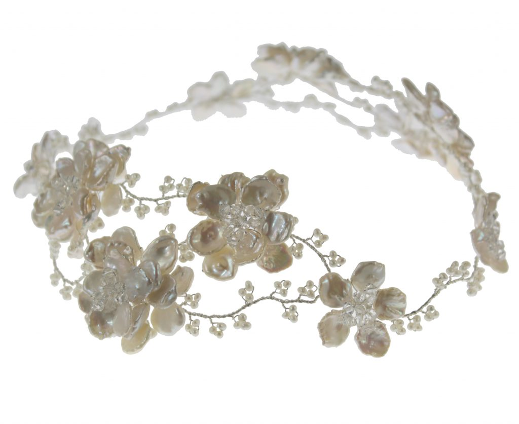 Pearl embellished flower crown wedding hair vine garland