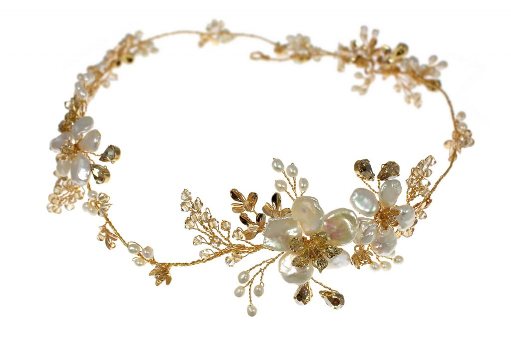 Golden flower crown garland of pearls and crystals