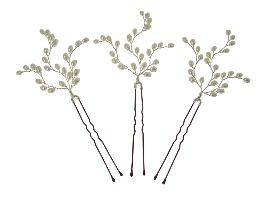pearl embellished silver wedding hair pins