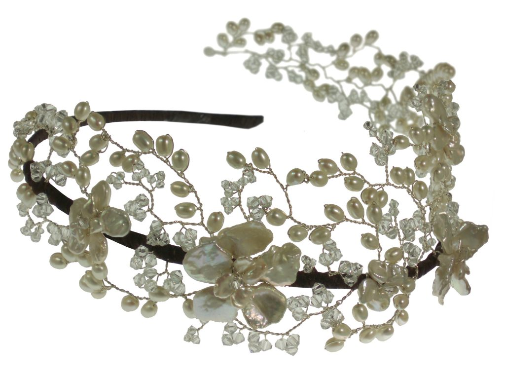 pearl and crystal embellished wedding hair headpiece band flower crown