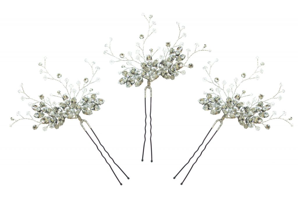 Swarovski crystal embellished wedding hair pins