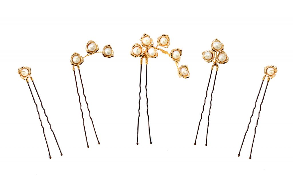Pearl embellished 24ct gold plated wedding hair pins