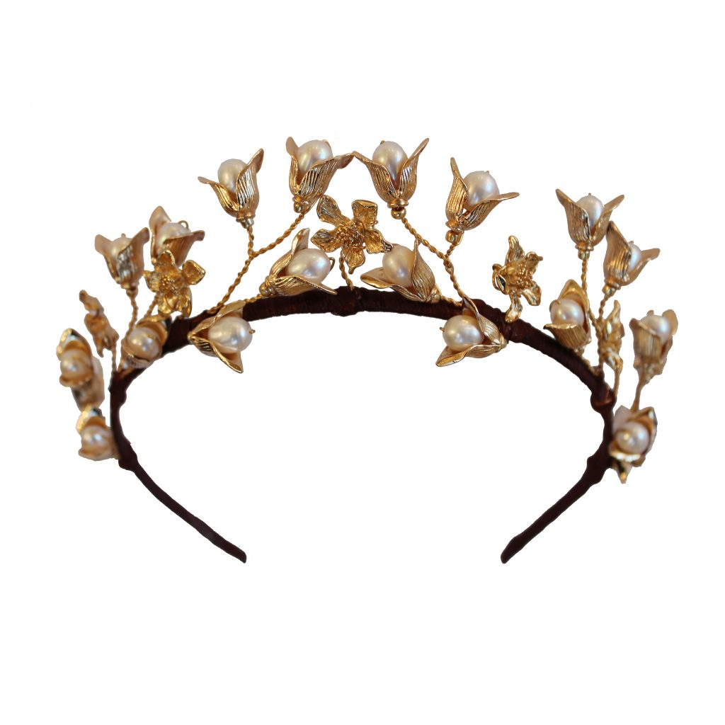 pearl embellished 24ct gold plated headband crown