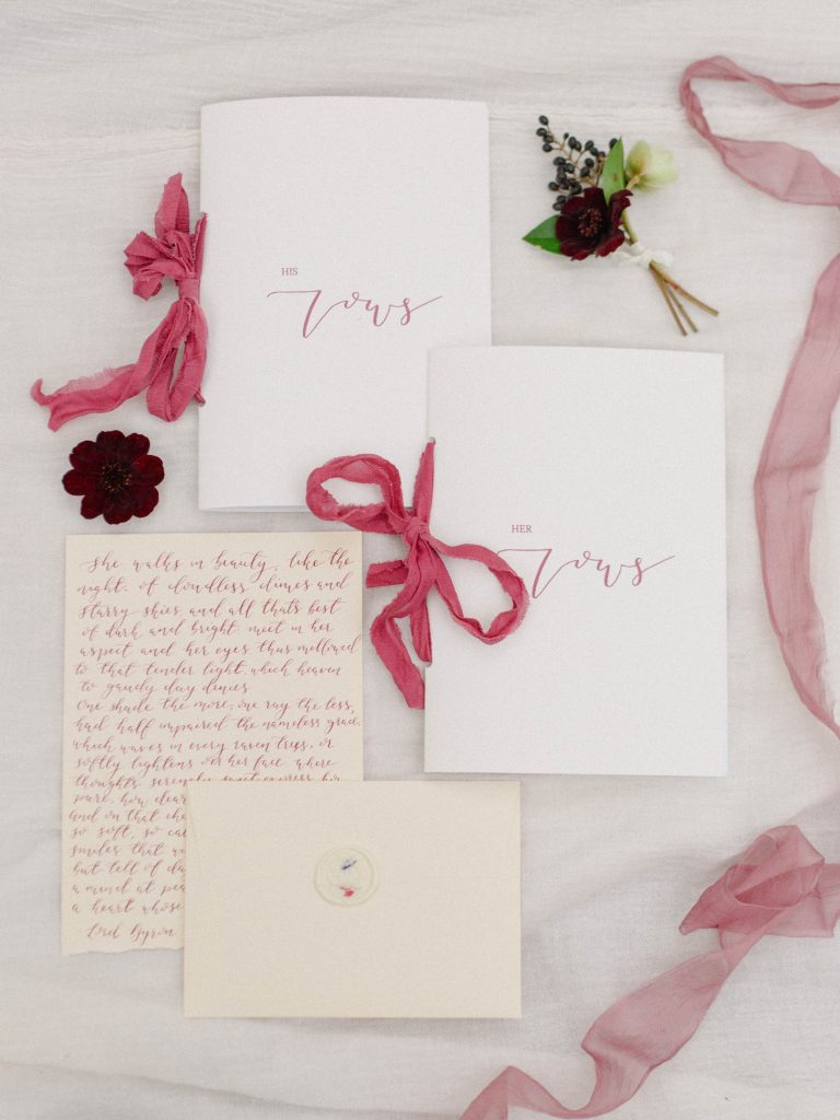 White Olive Designs berry inspired wedding stationary