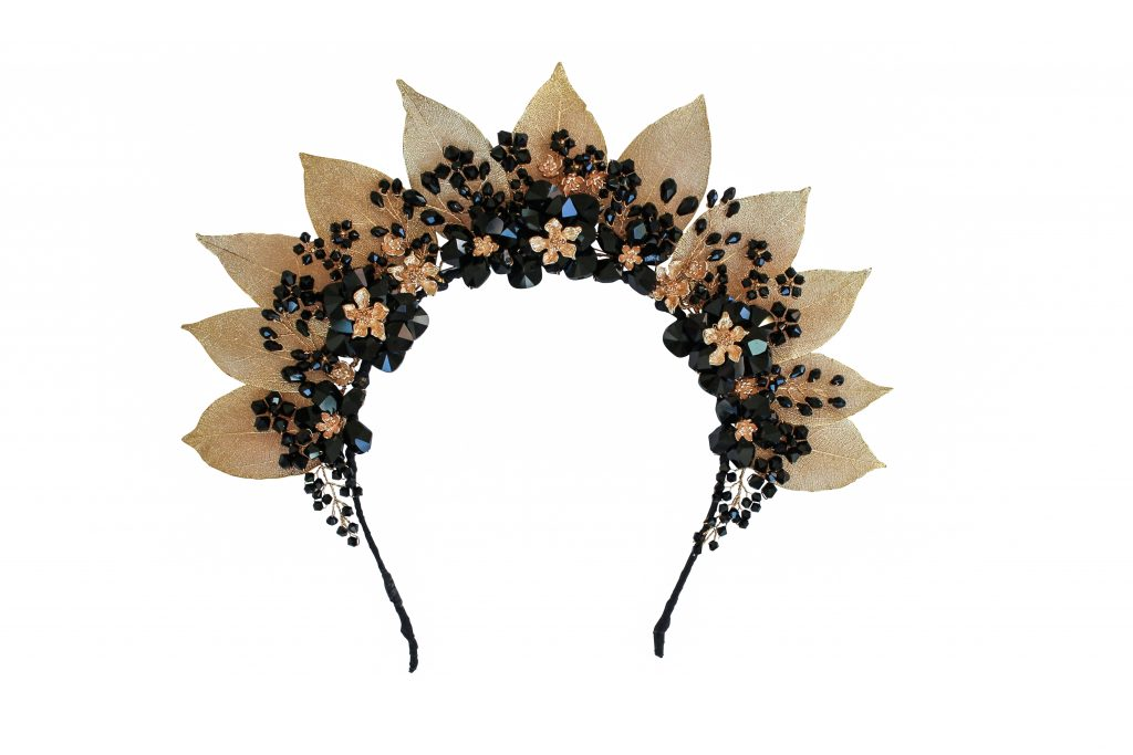 gold and black crystal flower and leaf crown fashion headband