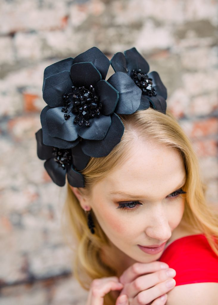 Black Floral Hat for Royal Ascot by Hermione Harbutt