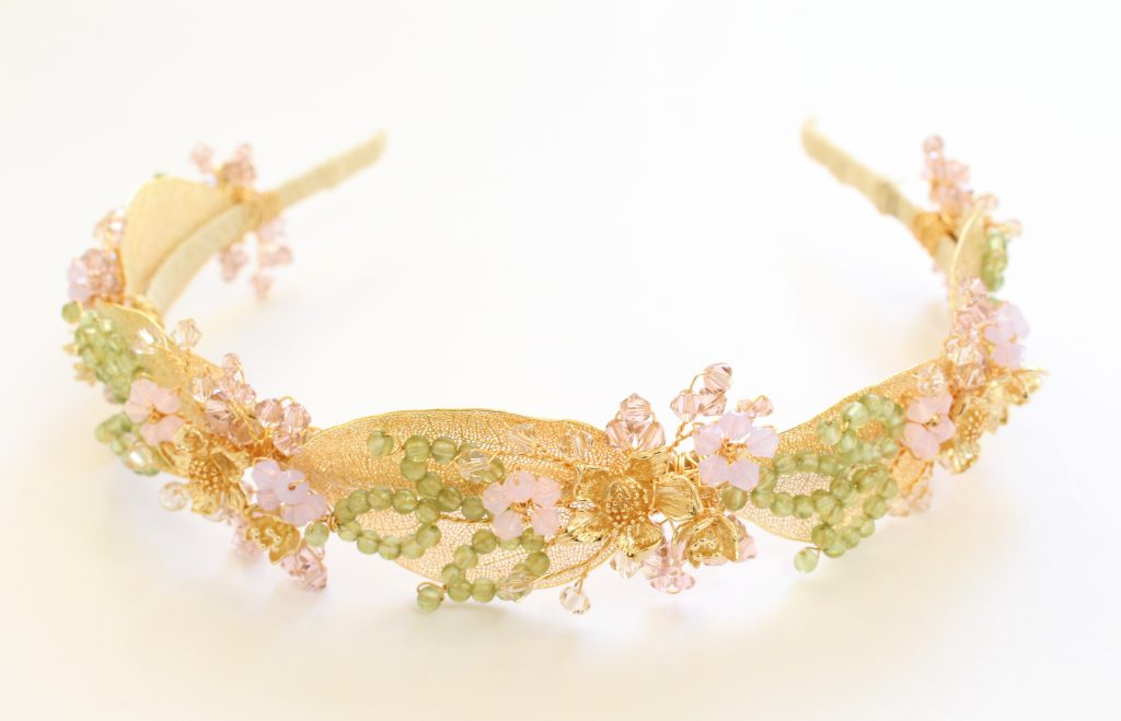 pink and green embellished mother of the bride headband