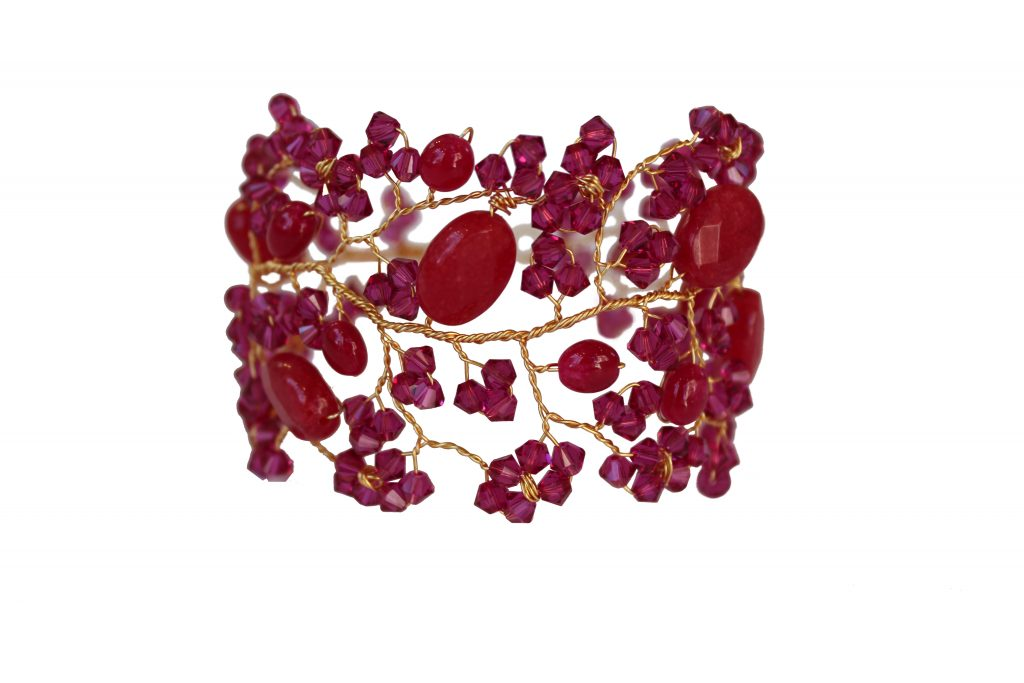 pink gemstone handmade bracelet cuff jewellery for bridesmaids and the wedding party