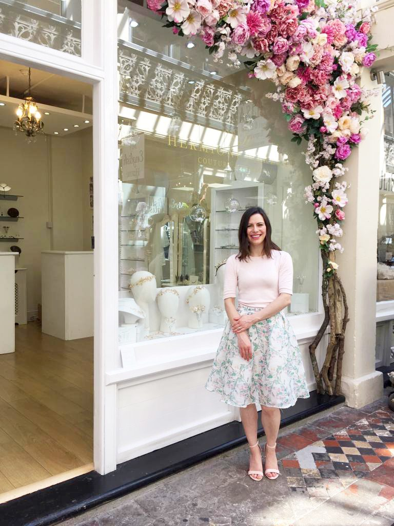 Hermione Harbutt wedding accessory boutique in Clifton Bristol. Floral displays in Clifton Bristol
