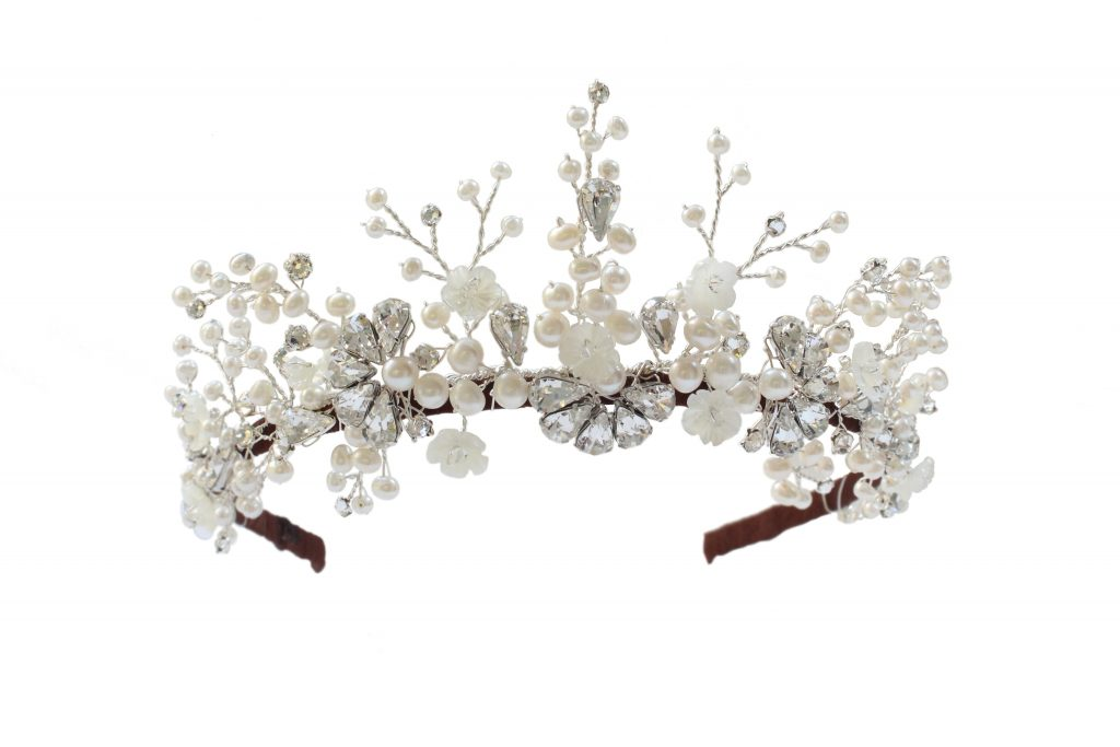 pearl and crystal wedding tiara by Hermione Harbutt