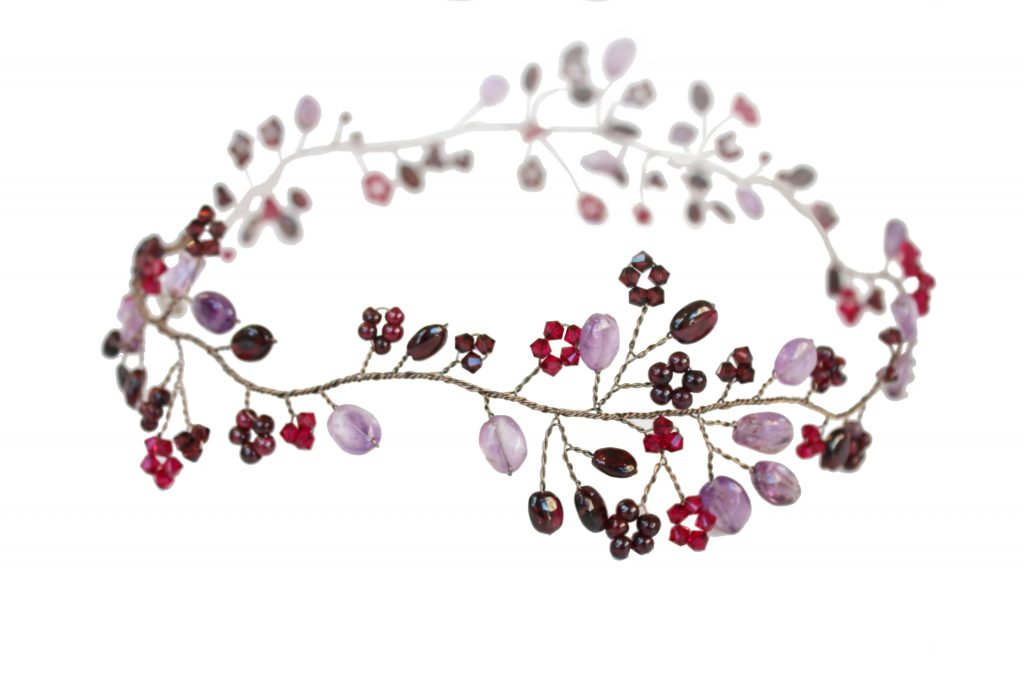 crystal and gemstone handmade embellished wedding hair garland by Hermione Harbutt