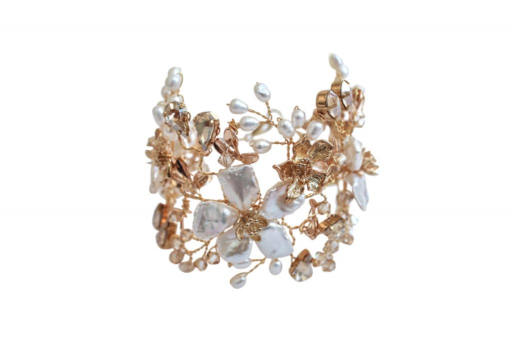 Handmade pearl and crystal gold flower wedding jewellery bracelet cuff by Hermione Harbutt