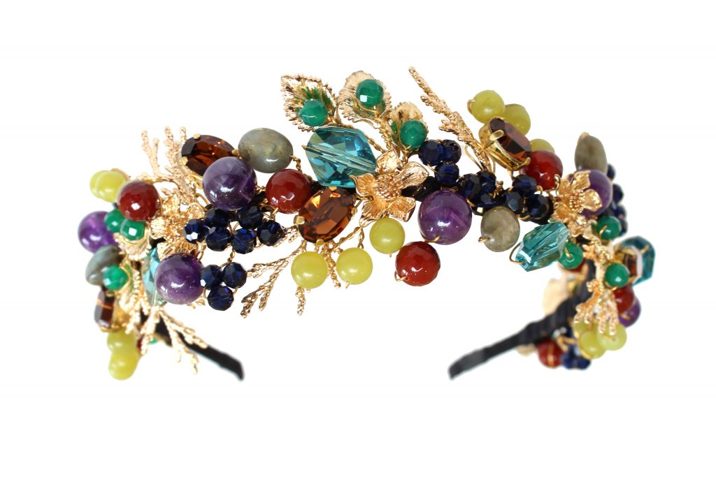 Multicoloured berry gemstone embellished wedding headband by Hermione Harbutt